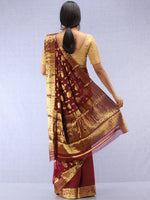 Banarasee Chiffon Saree With Golden Zari Weave - Wine & Gold - S031704358