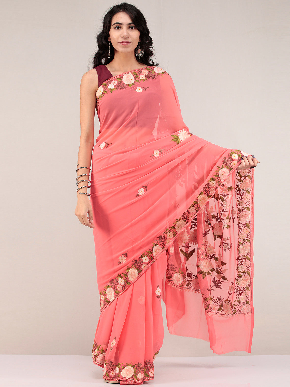 Peach Pink Aari Embroidered Georgette Saree From Kashmir - S031704670