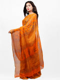 Orange Red Green Hand Block Printed Chiffon Saree with Zari Border - S031703280