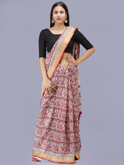 White Red Black Bagh Printed Maheshwari Cotton Saree - S031704216
