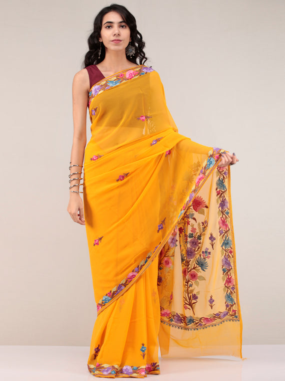 Mustard Yellow Aari Embroidered Georgette Saree From Kashmir - S031704671