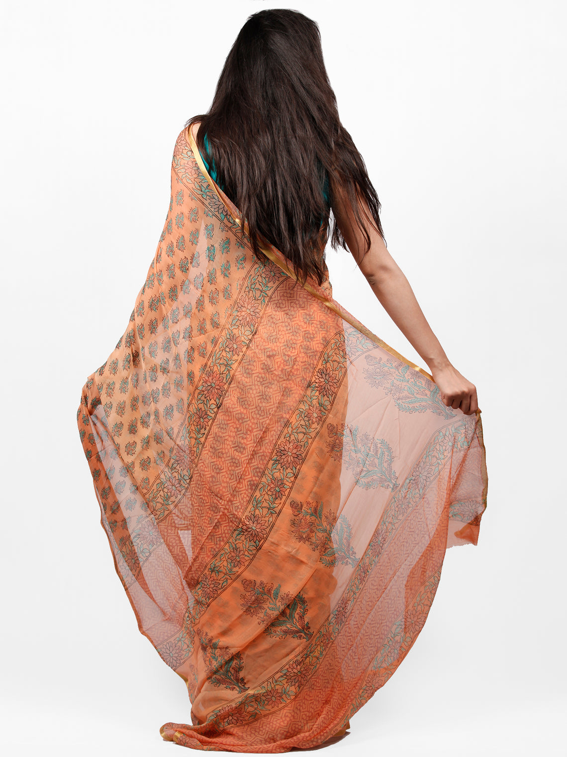 Peach Blue Hand Block Printed Chiffon Saree with Zari Border - S031703281