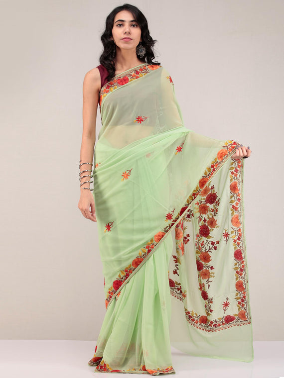Green Aari Embroidered Georgette Saree From Kashmir - S031704672