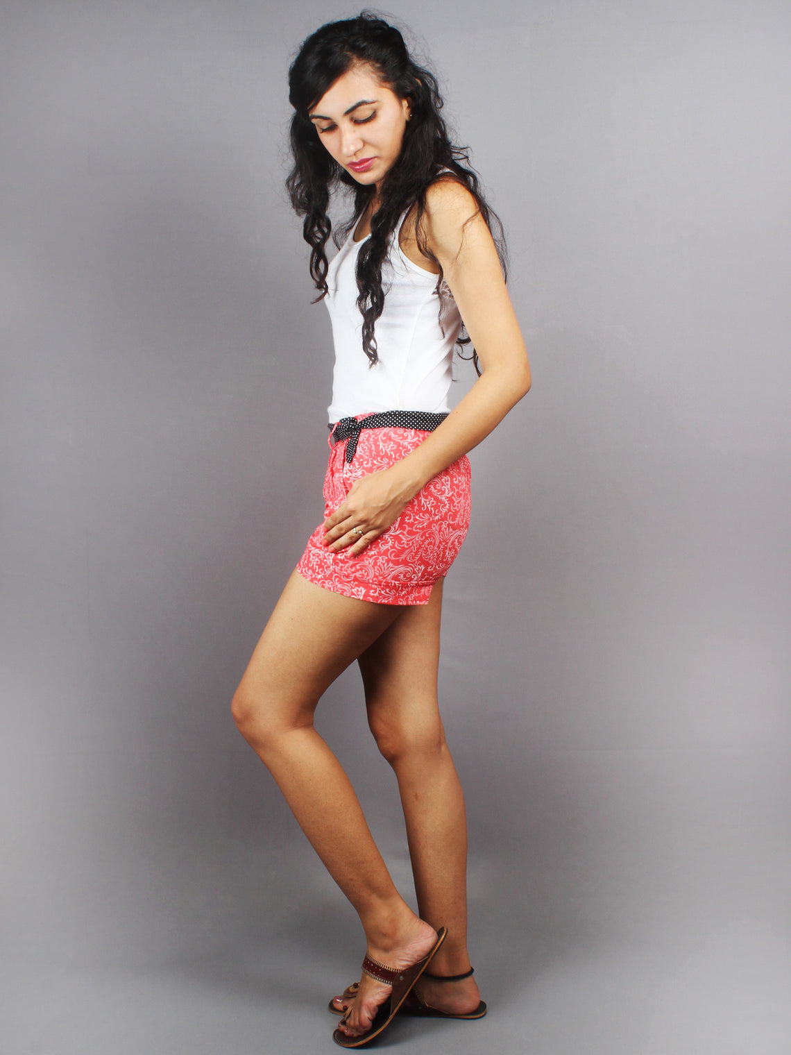 Pink Hand Block Printed Shorts With Belt -S5296001