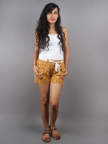 Mustard Hand Block Printed Shorts With Belt -S5296005