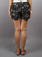 Black Hand Block Printed Shorts With Belt -S5296006