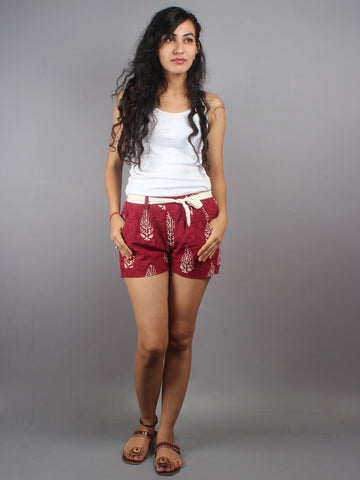 Red Hand Block Printed Shorts With Belt -S5296008