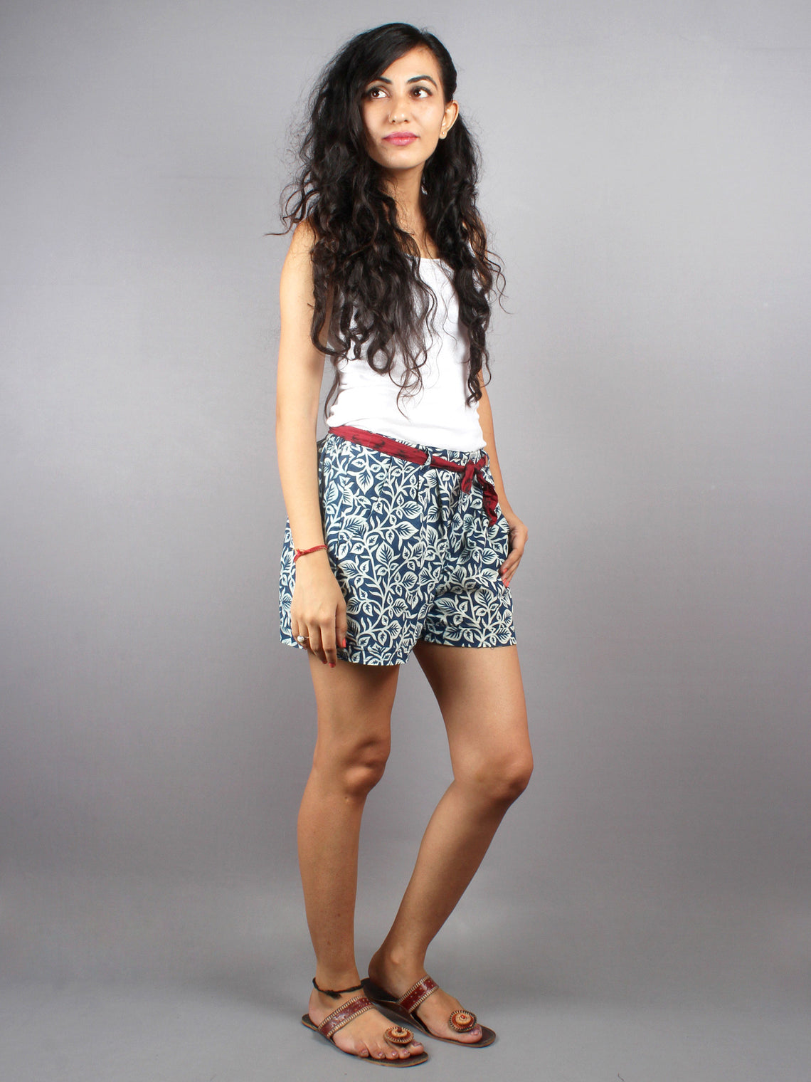 Blue Hand Block Printed Shorts With Belt -S5296009