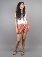 Red Hand Block Printed Shorts With Belt -S5296012
