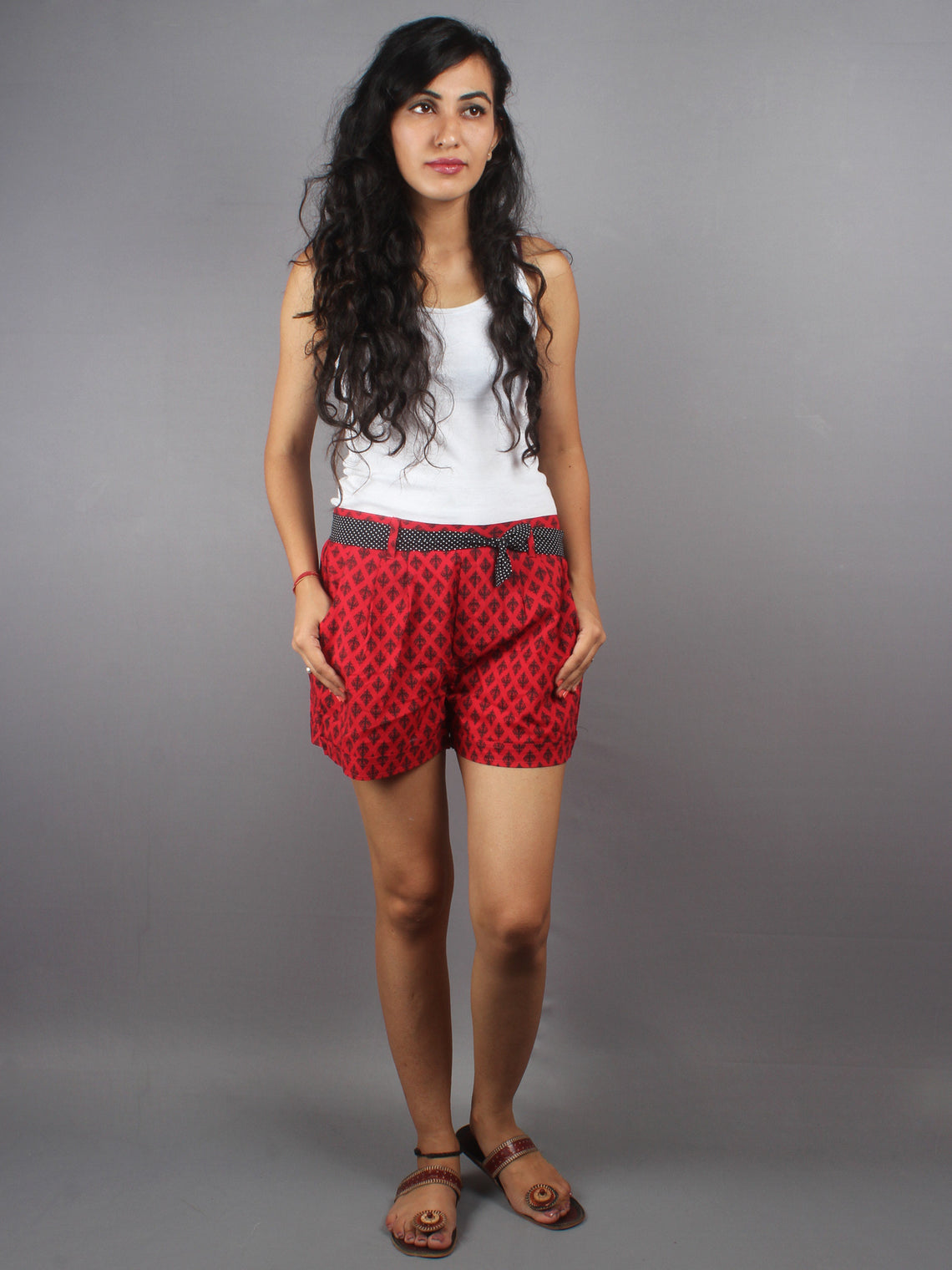 Red Hand Block Printed Shorts With Belt -S5296013