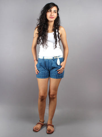 Blue Hand Block Printed Shorts With Belt -S5296015