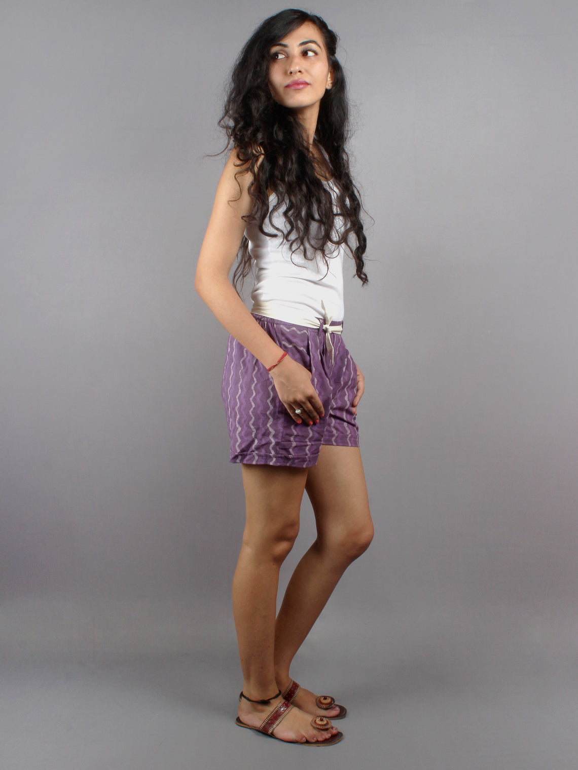 Purple Hand Block Printed Shorts With Belt -S5296017