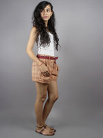 Red Hand Block Printed Shorts With Belt -S5296019