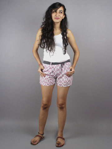 Pink Hand Block Printed Shorts With Belt -S5296021