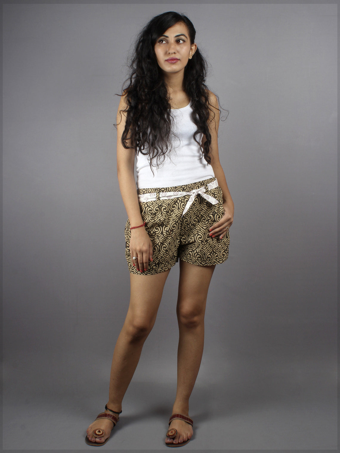 Brown Hand Block Printed Shorts With Belt -S5296024