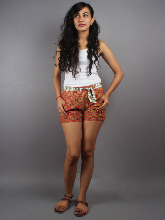 Red Hand Block Printed Shorts With Belt -S5296026