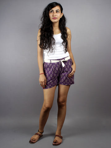 Purple Hand Block Printed Shorts With Belt -S5296032