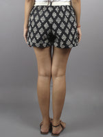 Black Hand Block Printed Shorts With Belt -S5296033