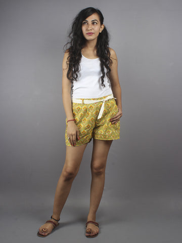 Multi color Hand Block Printed Shorts With Belt -S5296035