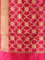 Banarasi Chanderi Dupatta With Resham Work - Magenta & Gold - D04170841