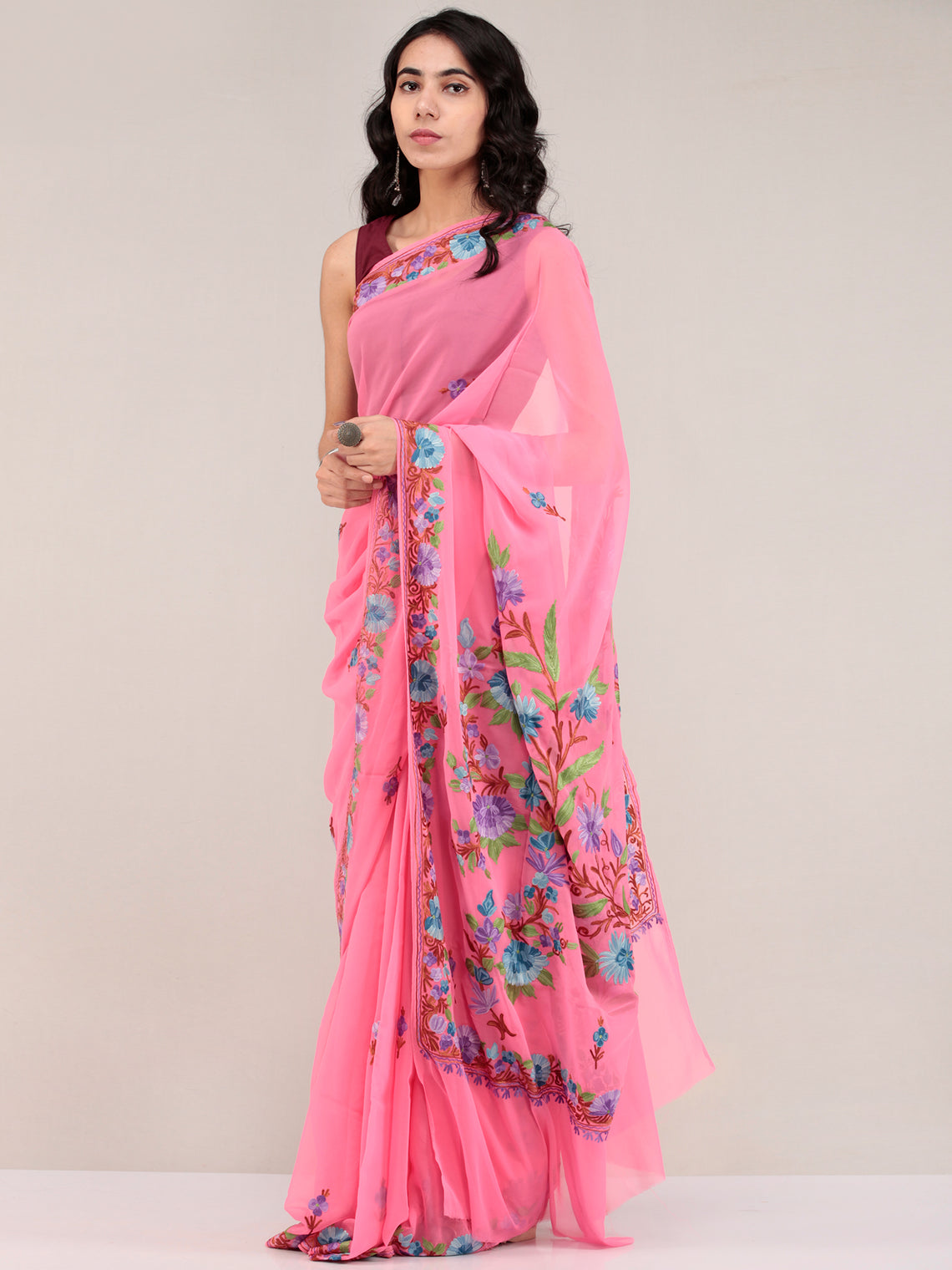 Pink Aari Embroidered Georgette Saree From Kashmir - S031704673