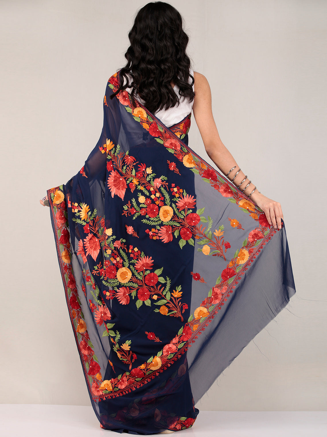 Blue Aari Embroidered Georgette Saree From Kashmir - S031704675