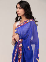 Blue Aari Embroidered Georgette Saree From Kashmir - S031704676