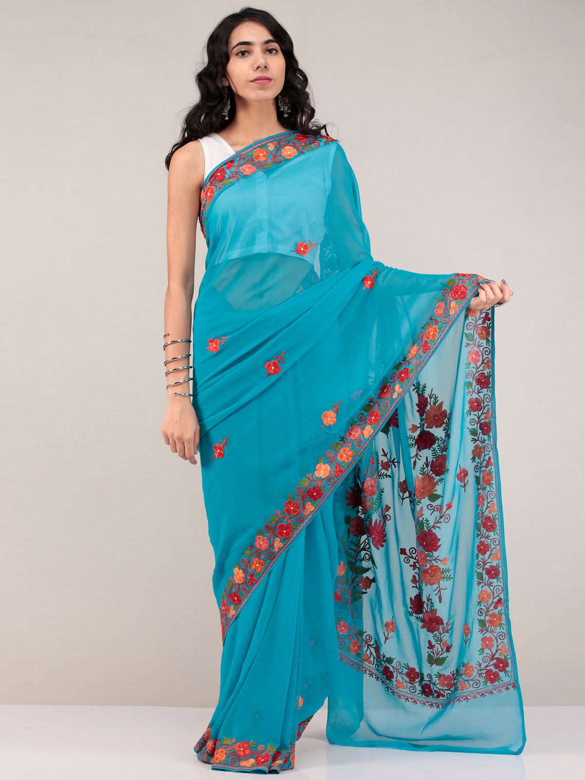 Blue Aari Embroidered Georgette Saree From Kashmir - S031704677
