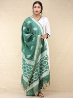 Green White Chanderi Shibori Printed Dupatta - D04170743