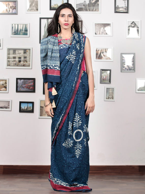 Indigo White Crimson Pink Hand Block Printed Cotton Mul Saree With  Hand made Tassels  - S031703019