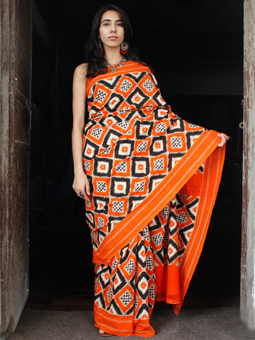 Orange White Black Telia Rumal Double Ikat Handwoven Pochampally Mercerized Cotton Saree - S031703514