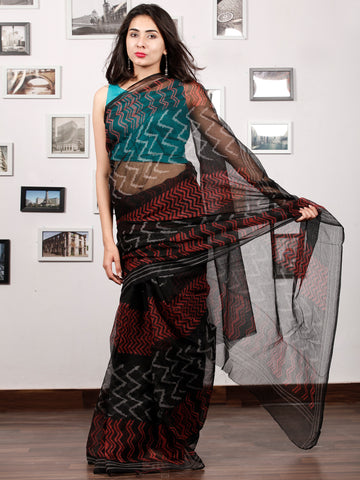 Black Red Beige Hand Block Printed Kota Doria Saree In Natural Colors - S031703195