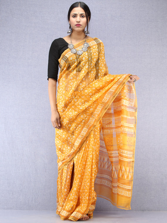 Yellow Ivory Maheshwari Silk Hand Block Printed Saree With Zari Border - S031704483