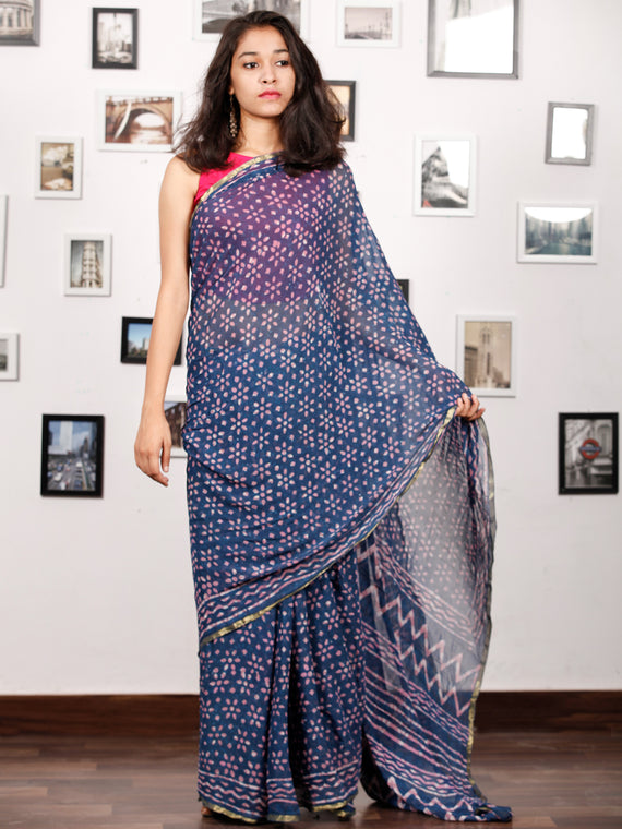 Indigo Lavender White Hand Block Printed Chiffon Saree with Zari Border - S031703157