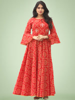 Maher - Red Bandhani Printed Urave Cut Long Mirror Work Dress  - D381F2023