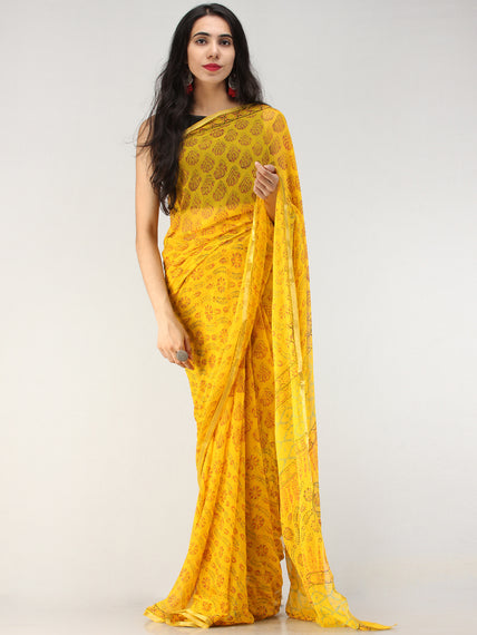 Yellow Red Green Hand Block Printed Chiffon Saree with Zari Border - S031704621