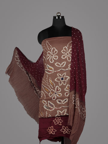 Peanut Brown Maroon White Hand Tie & Dye Bandhej Suit Salwar Dupatta (Set of 3) With Hand Embroidery & Mirror Work - S16281245