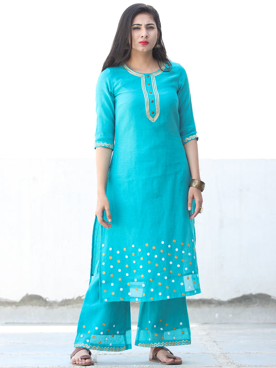 Gotta Charm - Sky Blue Chanderi  Kurta & Pants Sets  - Set of 2  - SS01F056
