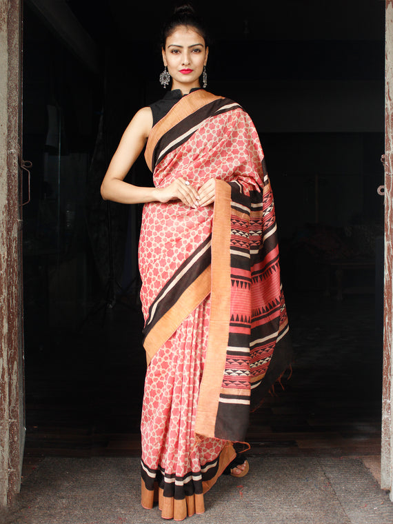 Rosewood Ivory Black Chanderi Silk Hand Block Printed Saree With Geecha Border - S031704003