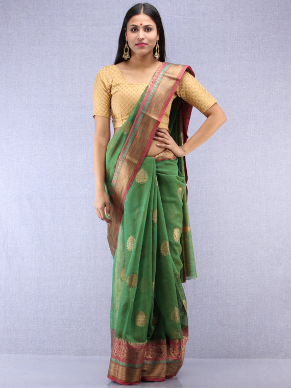Banarasee Cotton Silk Saree With Zari Work - Green & Pink - S031704404