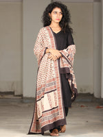 Beige Red Black Cotton Hand Block Printed Dupatta With Handmade Potli Tassels - D04170399