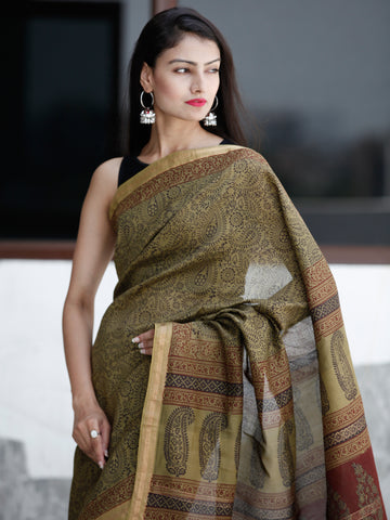 Olive-Green-Rust- Black Bagh Hand Block Printed Maheswari Silk Saree With Resham Border - S031703830