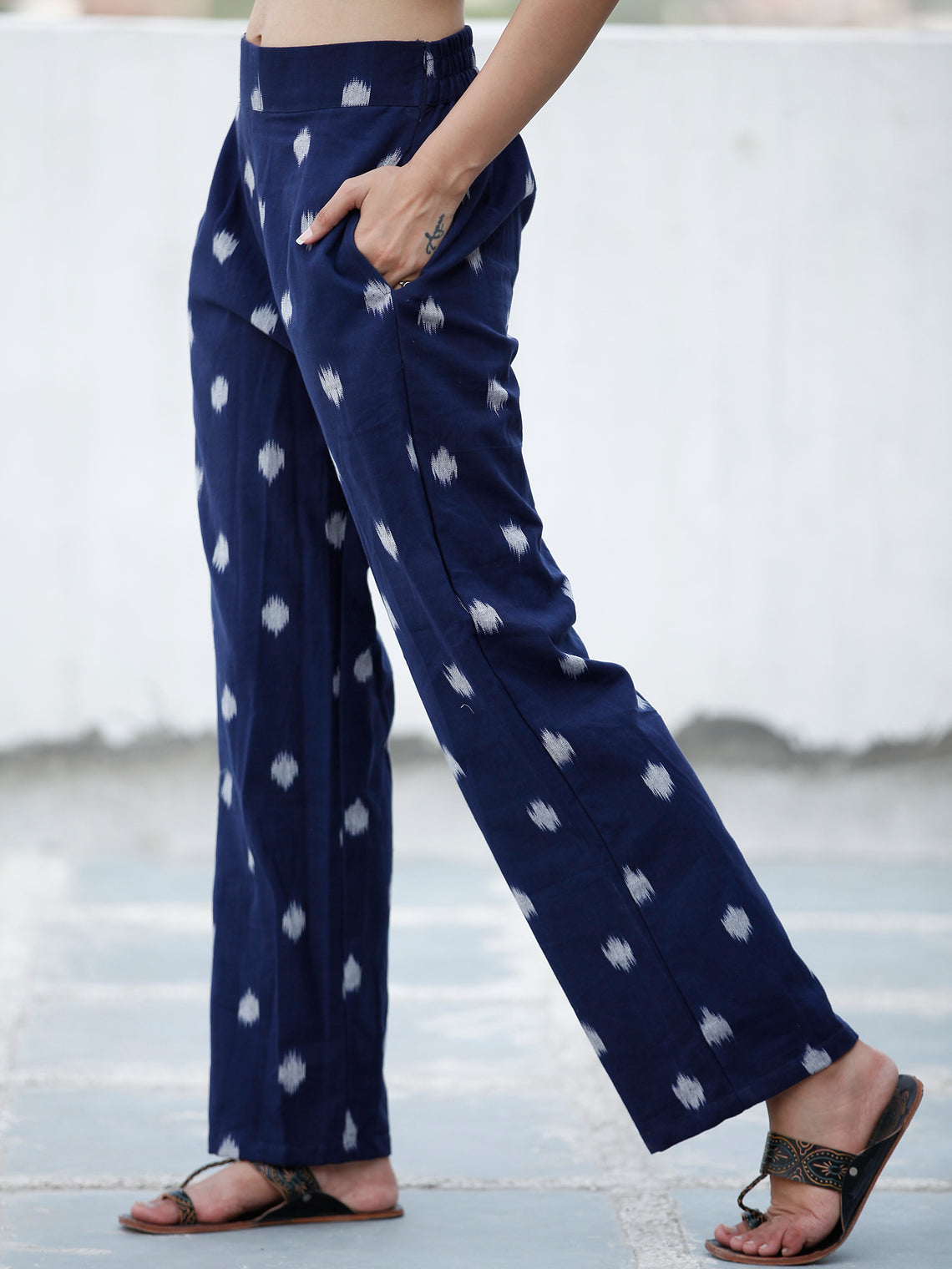 Navy Blue Ivory Hand Woven Ikat Cotton Pants - P11F1574