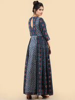 Nafesa - Hand Block Printed Long Cotton Dress With Embroidered Yoke  - D386F2065