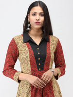 Olive Green Red Black Ajrakh Hand Block Printed Cotton Kurta   - K208F1581