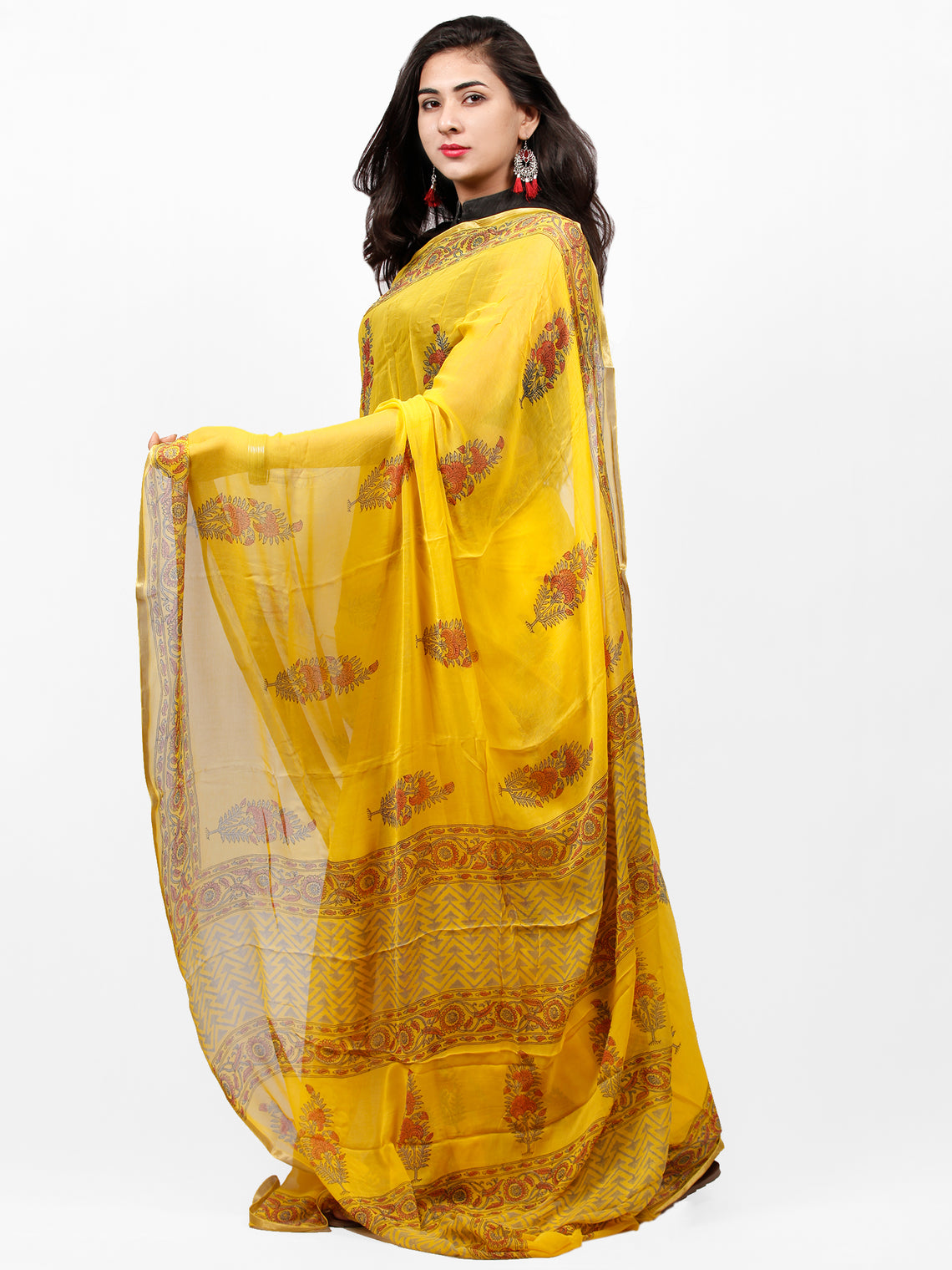 Yellow Red Green Hand Block Printed Chiffon Saree with Zari Border - S031703289