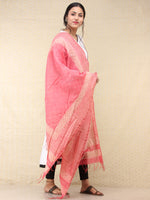 Pink Ivory Chanderi Hand Brush Painted Dupatta - D04170744