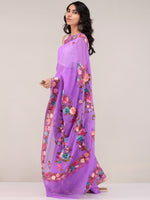 Purple Aari Embroidered Georgette Saree From Kashmir - S031704679