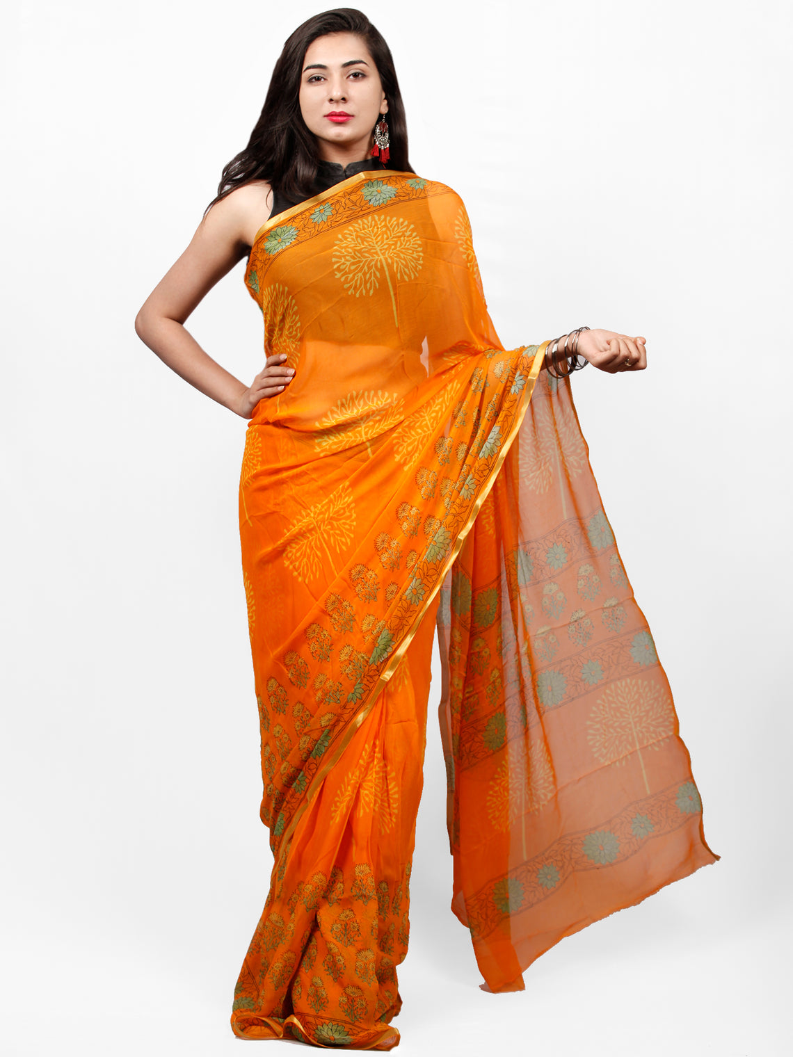 Orange Yellow Green Hand Block Printed Chiffon Saree with Zari Border - S031703292