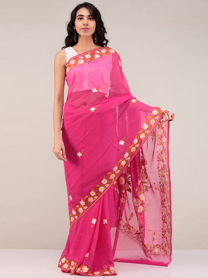Pink Aari Embroidered Georgette Saree From Kashmir - S031704680